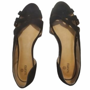 NWT Susina Nordstrom black faux suede flats 7